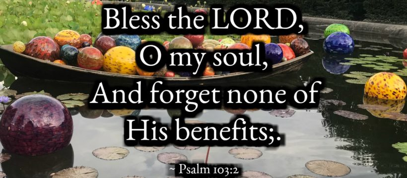 Psalm 103:1-5 Forget None of His Benefits via InspireAFire.com by Jean WIlund