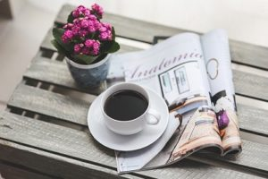 Eyes Wide Open--magazine,  coffee, and flower