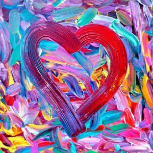 Why Worry--multicolored paintstrokes background with a heart in the foreground